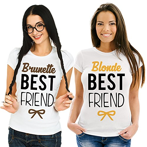 Coppia Di T Shirt Magliette love You And Me Best Friend Blonde and Brunette Bianche