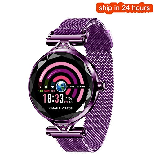 ZGYYDYT Smart Watch Women Heart Rate Blood Pressure Fitness Pedometer Female Physiological Cycle Waterproof Smartwatch Reloj Bracelet Purple