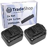 2x Trade-Shop Premium Li-Ion Akku 12V / 2000mAh / 24Wh für LUX-Tools ABS-12-LI A Akkuschrauber ersetzt ABS12LI Schiebe-Akku