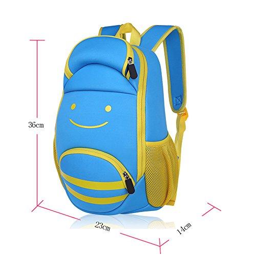 BOZEVON Wasserdichter Rucksack für Kinder Unisex Schultaschen Jungen Mädchen für Reisen, Wandern, Sport Blau Lächeln