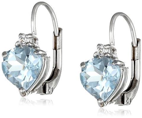 Sterling Silver Heart-Shape Blue Topaz Earrings