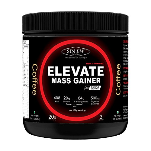 Sinew Nutrition Elevate Mass Gainer with Digestive Enzymes, 300 gm (Coffee Flavour)