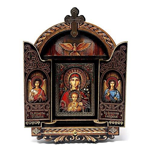 Inmaculada Romero IR Imagen Icono 11Cm. Virgen María Niño Jesús Frontal Ángeles Marco Puertas Madera Pintada Fondo Marrón