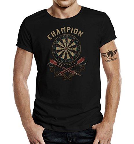 Original LOBO NEGRO® Design, T-Shirt für den Dart Fan: Dart-Champion schwarz Schwarz