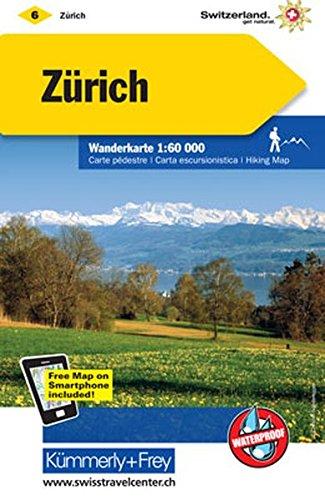 Zürich Wanderkarte Nr. 06: Massstab 1:60000, waterproof, Free Map on Smartphone included (Kümmerly+Frey Wanderkarten) (Zürich Karte)