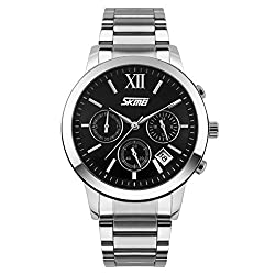 Skmei Classic Design stainless Steel Analog Watch -9097 Black