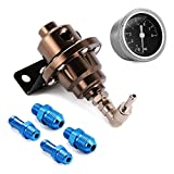 XCSOURCE High Performance Adjustable Fuel Pressure Regulator with Filled Oil Gauge 0 - 140 PSI for Car Auto MA422