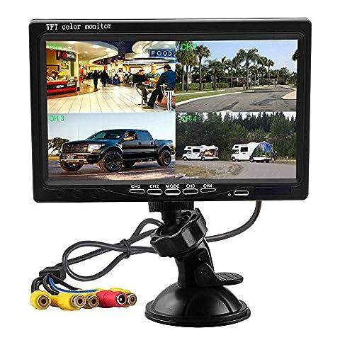 Podofo 7 pouces HD 4 Quad vidéo de Split affiche TFT LCD moniteur de visualisation arrière pour caméra de recul voiture Kit & Home Surveillance du système de sécurité