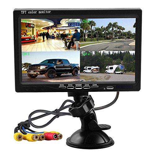 Podofo 7 Zoll HD 4 Split Quad Video Displays TFT LCD Rückansicht Monitor für Auto Backup Kamera Kit & Home Surveillance Sicherheitssystem