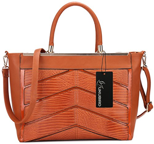 Kukubird Ladies In Pelle Di Design Stile Coccodrillo Texture Dettaglio Grande Tote Bag Shoulder Satchel Handbag Marrone Rossiccio