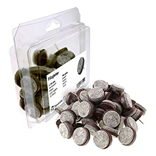 Trevendo® 32 Stück Filzgleiter zum Nageln, Ø 24 mm, braun