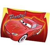 6 cartes d'invitation de fête Flash McQueen avec enveloppes Disney Cars