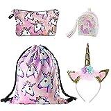 DRESHOW Unicorn Drawstring Backpack/Bolsa de maquillaje/Collar /...