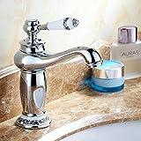 Tourmeler Badezimmer Waschbecken Armaturen Mixer Messing Wasserhahn Porzellan Mischbatterie Chrom poliert 9031 Cp, Chrom Polieren