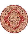 Benuta Flachgewebeteppich Stella rund Orange ø 160 cm rund - Vintage Teppich im Used-Look