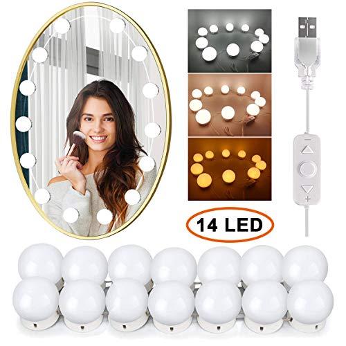 Wesho Hollywood - Kit de luces LED para espejo de tocador con 14 bombillas regulables para maquillaje, tocador con 5 engranajes, regulador táctil de brillo ajustable y cable de alimentación USB