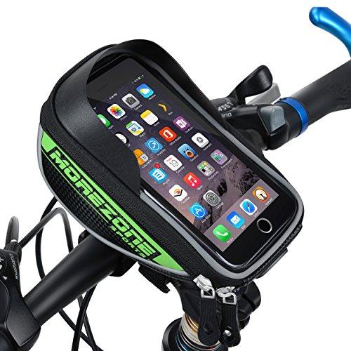 MOREZONE Bolsa Manillar Bicicleta Impermeable Ciclismo Bolso Delantero Con pantalla táctil Bici Bolso adecuado Teléfono Móvil dentro de 5,5 pulgadas (Verde)