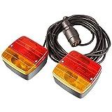 MVPOWER Fanale per Rimorchio PKW 21W 12V, Illuminazione per Rimorchio con Magnete cablato - Cavo 7 m, Spina 7 pin