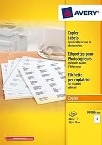 Avery 800 Etiquettes Autocollantes pour Photocopieur Monochrome - 105x70mm - Impression copieur - Blanc (DP080)