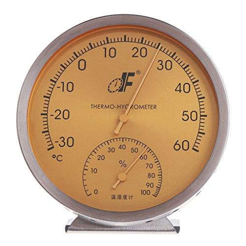 Besttse Thermometer/Hygrometer, Edelstahl, analoges Zifferblatt