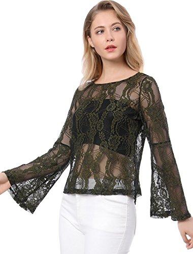 Allegra K Women's Bell Sleeve Sheer Blouse Lace Top