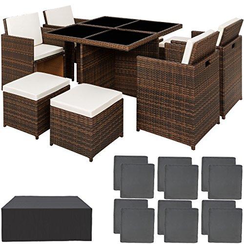 TecTake Ensemble Salon de jardin en Aluminium Résine Tressée Poly Rotin Table Set 4+1+4 + Housse de Protection |...