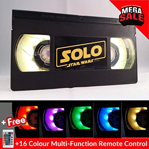 Solo Star Wars VHS Lamp | LED USB Powered Retro Video Gift. With 16 Colour Change +Multi-Function Remote Control. Desk, Mood, Vintage, Night light.