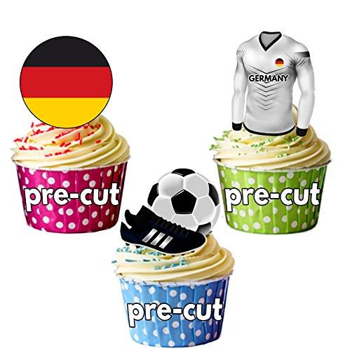 Cupcake-/Kuchendekoration, vorgeschnitten, essbar, Deutschland Fußballtrikot, Flagge und Ball mit...