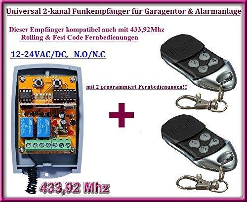 Funkempfänger SET 433,92Mhz 12-24 VAC / DC + 2 Rolling code Fernbedienung für Garagentor, Alarmanlage - Control Torantriebe Board