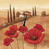 Artland Analoge Wand-Funk-oder Quarz-Uhr Digital-Druck Leinwand auf Holz-Rahmen gespannt mit Motiv Andres Mohnblumen in der Toskana Landschaften Europa Italien Malerei Ocker A1QP