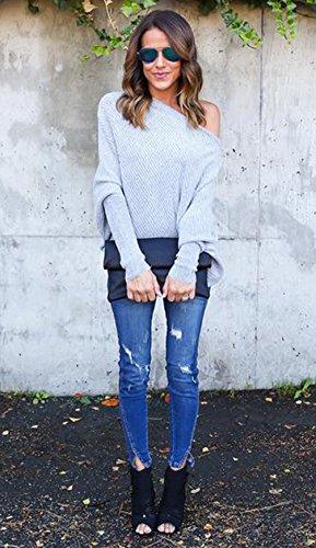 Monika Donna Lunga Pipistrello Senza Spalline Maglietta Pullover Casuale Allentato Jumper Tops Bluse Felpa Elegante Maglione Maglie a Manica Sweatshirt Grigio