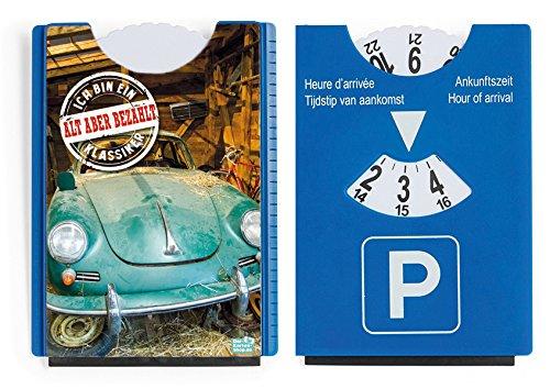 Fun Spaß Motiv Parkscheibe mit Eiskratzer und Gummilippe Oldtimer Porsche Ich bin ein Klassiker 'Alt aber bezahlt'