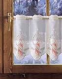 Bestickte Scheibengardine FESTLICHE KERZE 35cm / 55cm hoch Plauener Spitze, Weihnachtsgardine, Weihnachtsdeko