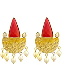 Ratnatraya Red Artificial Gemstones White Kundan Earrings   Fancy Designer Gold Polished Ear Tops For Girls And...