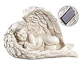 Lunartec Engel Beleuchtet: Schlafende Solar-LED-Schutzengel-Figur, 16 cm, für Innen & außen (Engel mit LED-Licht)