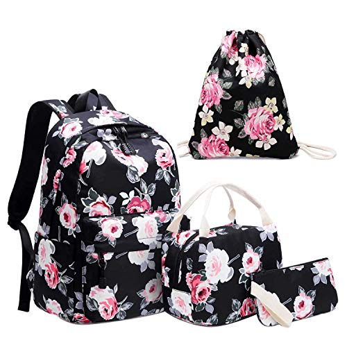 Neuleben Schultaschen 4 Set Schulrucksack + Kühltasche + Turnbeutel + Geldbörse mit Blumenmuster für Damen Mädchen Kinder (Schwarz Blumen) - Turnbeutel Geldbörse