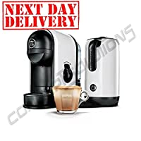 NEW Lavazza Minu White Caffe Latte Coffee Machine With Integrated Milk Frother