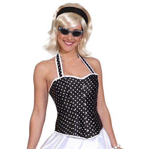 NET TOYS Schwarze Rockabilly Corsage Korsett weiß gepunktet L 44/46 50er Jahre Karnevalskostüm Rock'n'Roll Outfit Korsage Grease Kostüm Rockabella Faschingskostüm Damen (Für Erwachsenen 50er Jahre Grease Kostüm)