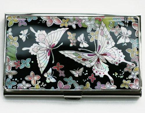 Biglietti da visita, carte di credito, realizzata a mano, con intarsi in madreperla, confezione regalo, motivo: farfalle