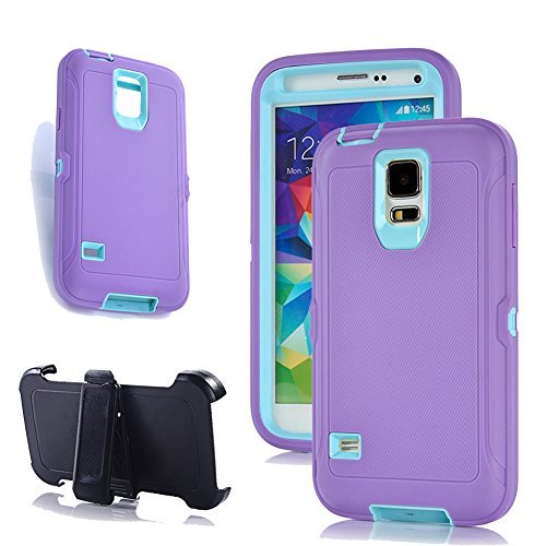 Galaxy S5 Holster Fall, harsel Defender Series Heavy Duty Baum Camo High Impact Tough Rugged Hybrid Rubber Schutz w 'Gürtelclip Integrierter Displayschutzfolie Schutzhülle für Galaxy S5, Purple Aqua