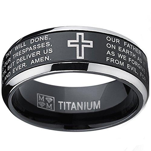 Herren Schwarz Titan Ring Band Mit Vater Unser,Größe 59 (Herren Titan Fashion-ringe)