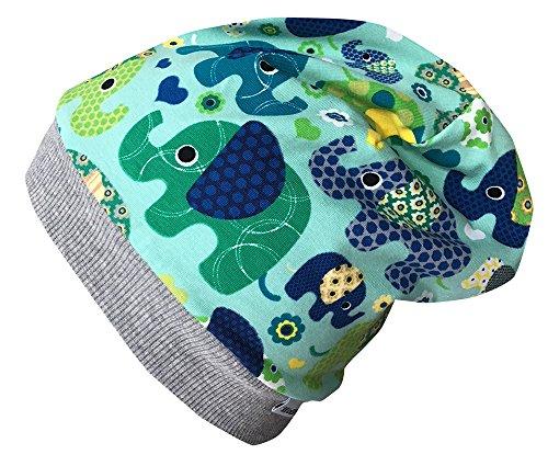 Wollhuhn - Sombrero - para niña ELEFANTEN Blau/grün X-Small: KU 42/46 (ca...