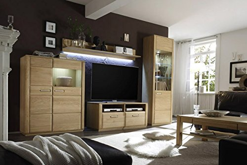 Dreams4Home Wohnkombination 'Yascha II' 4-teilig, Eiche Bianco massiv, optional mit Beleuchtung, Schrank, TV-Schrank, TV Element, Wohnwand, Wohnelement, Wohnzimmer, Regalwand, Highboard, Vitrine, Beleuchtung:mit LED Beleuchtung