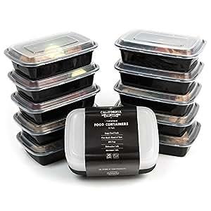 California Home Goods 1vano riutilizzabile, contenitori per alimenti con coperchi, forno a microonde e lavastoviglie, Bento lunch box, impilabile, set di 10