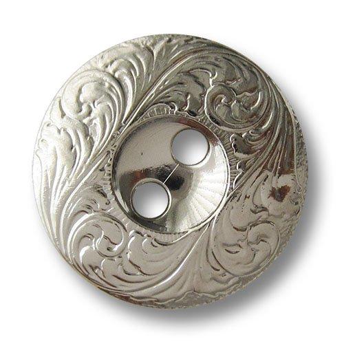 Knopfparadies - 6er Set diskusförmige glänzend silberfarbene Zweiloch Kunststoffknöpfe in Metall...