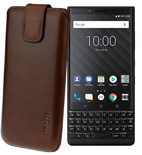Suncase Original Etui Tasche für BlackBerry Key2 *Lasche mit Rückzugfunktion* Handytasche Ledertasche Schutzhülle Case Hülle in rustik-mocca braun