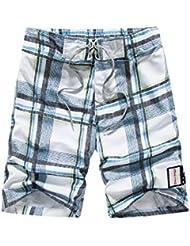 PZLL Verano cinco pantalones de tela escocesa de los hombres, sueltos cortos rectos, finos pantalones de playa Playa Surf , blue , xxxl