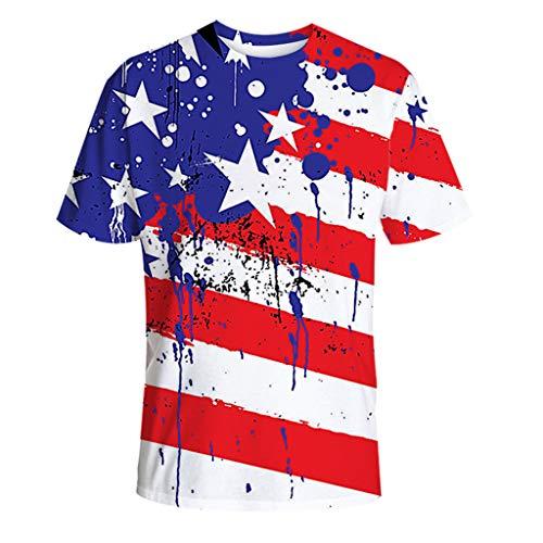 Masoness Mode Männer Sommer Neue Klassische Amerikanische Flagge Twill Print Kurzarm Lose T-Shirt Tops Bluse