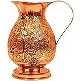 "Indian Art Villa 9.0"" X 5.0"" Pure Copper Leaf Design Jug Pitcher 1800 ML Storage Drinking Water Home Hotel Restaurant Gift Item Tableware"