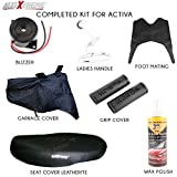 #5: AllExtreme 7 in 1 Combo Accessories Kit for Honda Activa 4G - Leatherette Seat Cover, Handle Bar Grip Cover, Helmet/Baggage Holder, Buzzer, Liquid Wax Polish, Rubber Foot/Floor Mat, Weatherproof Garage Cover